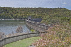 Dam Wall and Lake from Above Stock Photos