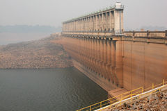 Dam wall in mist. Dam wall shrouded in smoke from bushfires, Lake Hume, Australia Royalty Free Stock Photos