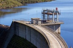 Dam wall offices. Dam full of water wall and control offices Stock Photo