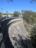 Dam wall at reservoir Royalty Free Stock Image