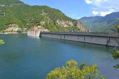 Dam wall. Vacha Dam wall.Because of its large size, Vacha is the highest dam in Bulgaria.Picture taken on September 7th 2014,Dam Vacha,Bulgaria Royalty Free Stock Image