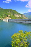 Dam wall. Vacha Dam wall..Provides part of the drinking water for Plovdiv and is used for irrigation of the Plovdiv area. The dam has the highest dam in Bulgaria Royalty Free Stock Images