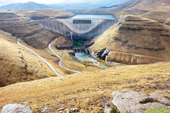 Dam wall - view from above. Shot near Katse Dam, Lesotho Royalty Free Stock Photography