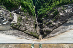Dam without water. Contra Dam without water, Verzasca, Ticino, Switzerland Royalty Free Stock Photo