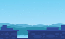 Dam water with hills backgrounds vector Stock Image