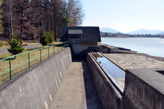 Dam water overflow concrete ditch Stock Photo