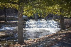 Dam Waterfall at Fish Hatchery in Decorah, Iowa Stock Photo