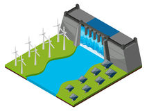 Dam with watergate and wind turbines Royalty Free Stock Photography