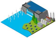 Dam and wind turbines in 3D design Stock Image