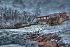 Dam in the winter Royalty Free Stock Photography