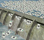 Dam With Money Flowing Stock Photo