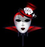 Dama del rojo de la máscara stock de ilustración