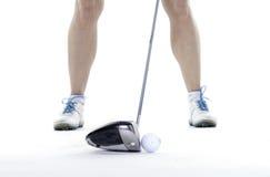 Dama golfista w studiu zdjęcia stock