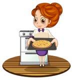Dama gotuje pizzę Obrazy Stock