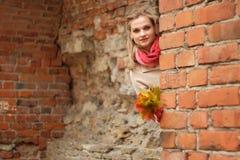 Dama - jesieni outdoors portret Zdjęcie Royalty Free