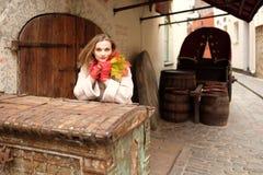 Dama - jesieni outdoors portret Zdjęcia Royalty Free