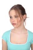 Dama patrzeje daleko od z makeup z bliska Biały tło Zdjęcia Royalty Free