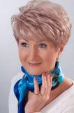 dama starzejący się błękitny krawat Obrazy Stock