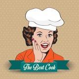 Dama szef kuchni, retro ilustracja Fotografia Royalty Free