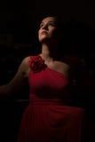 Dama w czerwieni w ciemnym pokoju Obraz Stock