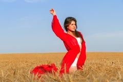 Dama w czerwieni w polu Zdjęcia Stock