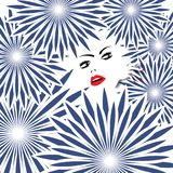 Dama w Spiky kwiatach Obraz Royalty Free