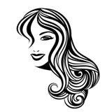 Dama z długie włosy portretem Fotografia Royalty Free