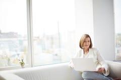 Dama z laptopem obrazy stock