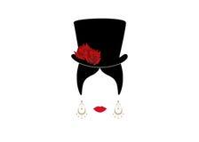 Dama z odgórnym kapeluszem, portret dziewczyna Zdjęcia Royalty Free