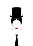 Dama z odgórnym kapeluszem, portretem dziewczyna z krawatem, nowożytną kobietą w męskiej wersi, łaciny lub hiszpańszczyzn, ikona  Obrazy Stock