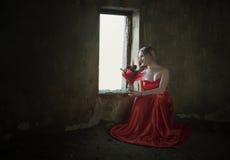 Dama z różą Zdjęcie Royalty Free
