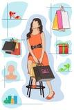 Dama zakupy Ilustracji