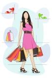 Dama zakupy w Obuwianym sklepie Royalty Ilustracja