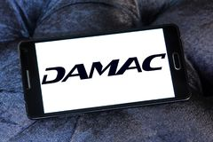 DAMAC Properties company logo. Logo of DAMAC Properties company on samsung mobile. DAMAC Properties is a property development company, based in Dubai, in the Royalty Free Stock Photo