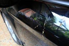 Damage of bird popp on side door Stock Photography
