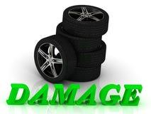 DAMAGE- bright letters and rims mashine black wheels Stock Image