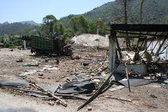 Damage in Bruner District Pakistan from the Taliban Stock Photos