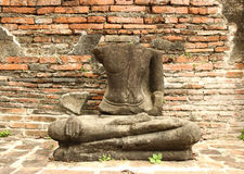 Damage buddha statue. In wat mahathat temple, Ayutthaya. Thailand Royalty Free Stock Photography