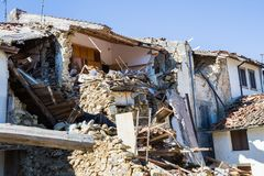 The damage caused by the earthquake that hit central Italy in 2016. Prato of Amatrice,Italy,29 April 2017. royalty free stock images