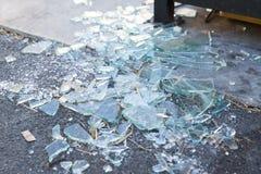 Shards of broken glass on floor. Damage concept - shards of broken glass on floor royalty free stock photo