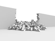 Damage cracked destructed white wall. 3d render illustration Stock Image