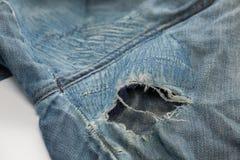 Damage of crotch dirty jean. Close up damage of crotch dirty jean Stock Photo