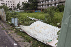 Damage done by the Typhoon Soulik to the Taipei city Royalty Free Stock Image