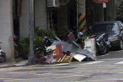 Damage done by the Typhoon Soulik to the Taipei city Royalty Free Stock Photography