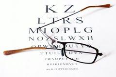 Damage Glasses With Eye Test Royalty Free Stock Image