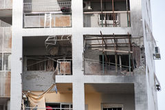 Damage of house in the center of Ashdod, Israel-2. Damaged building by a Palestinian bomb in the center of Ashdod, Israel Royalty Free Stock Images
