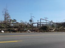 Damage from Hurricane Michael. Hurricane Michael Aftermath, Florida Panhandle stock image