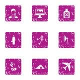Damage icons set, grunge style. Damage icons set. Grunge set of 9 damage vector icons for web isolated on white background Royalty Free Stock Photo