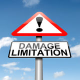 Damage liability concept. Illustration depicting a roadsign with a damage limitation concept. Blue sky background Royalty Free Stock Photography