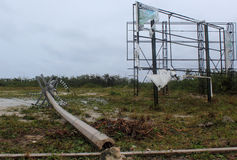 Damage in Mahahual Hurricane Ernesto Stock Image